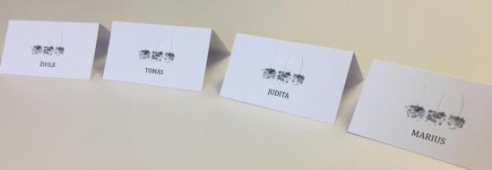 Atspausdintos ir subiguotos stalo kortelės